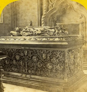 Belgium Bruges Church Notre Dame Grave old Stereo Photo Ad. Braun 1865