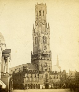 Belgium Bruges Belfry old Stereo Photo Ad. Braun 1865