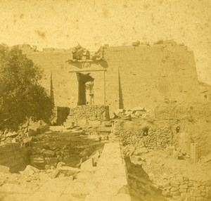 Egypt Nubia Kalahcheh Temple Peristyle old Stereo Photo 1865