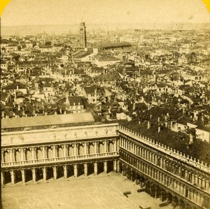 Italy Venice Panorama old Stereo Photo Block 1865