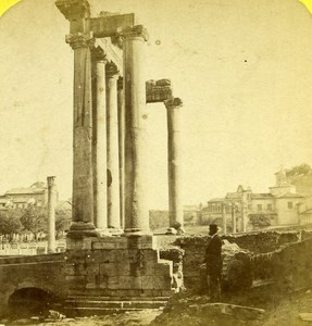 Italy Roma Ruins of Temple of Saturn old Stereo Photo Lamy 1865