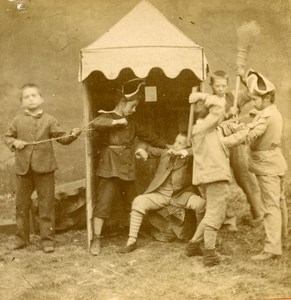 France Paris Children's Games Taking the Redoubt old Stereo Photo 1865