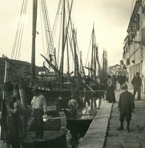 Italy Chioggia Wharf & Port of Fishermen old Possemiers Stereo Photo 1908