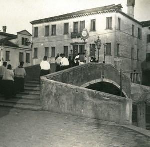 Italy Chioggia Canale Vena Bridge Funeral old Possemiers Stereo Photo 1908