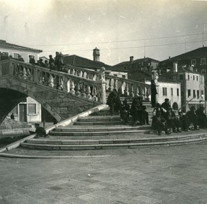 Italy Chioggia People seated on Ponte Vigo old Possemiers Stereo Photo 1908