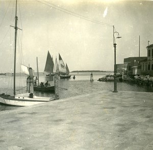 Italy Chioggia Port Fish Boat old Possemiers Stereo Photo 1908