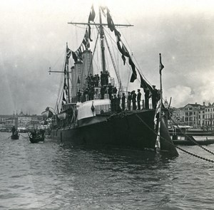 Italy Venice Visit William II Italian Cruiser old Possemiers Stereo Photo 1908