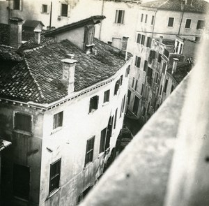 Italy Venice a Canal seen from Top old Possemiers Stereo Photo 1908
