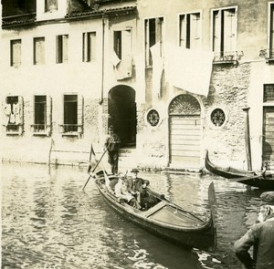Italy Venice Gondola Promenade old Possemiers Stereo Photo 1908