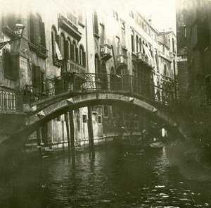 Italy Venice Canal Lateral and Slant Bridge old Possemiers Stereo Photo 1908