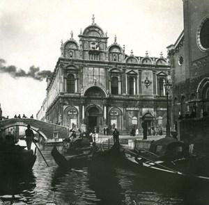 Italy Venice Rio dei Medicanti & Church old Possemiers Stereo Photo 1908
