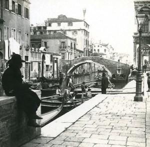 Italy Venice Warf of Campo S Giovanni e Paolo old Possemiers Stereo Photo 1908