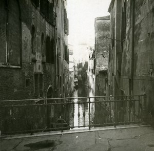 Italy Venice Small Canal old Possemiers Stereo Photo 1908