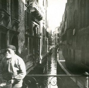 Italy Venice Small Canal & Sidewalk old Possemiers Stereo Photo 1908