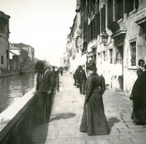 Italy Venice Fundamenta Cappuccine Promenade old Possemiers Stereo Photo 1908