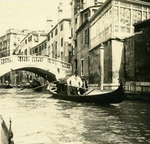 Italy Venice a Wedding Gondola old Possemiers Stereo Photo 1908