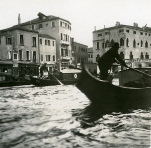 Italy Venice Grand Canal Funeral old Possemiers Stereo Photo 1908