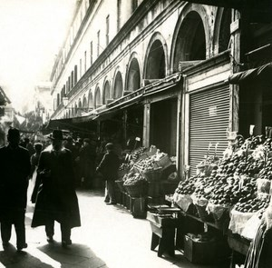 Italy Venice Fruit Stores at Ponte Rialto old Possemiers Stereo Photo 1908