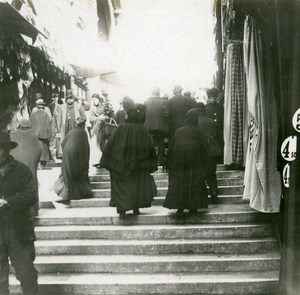 Italy Venice On the Steps Ponte Rialto old Possemiers Stereo Photo 1908