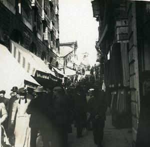 Italy Venice Stores near Ponte Rialto old Possemiers Stereo Photo 1908
