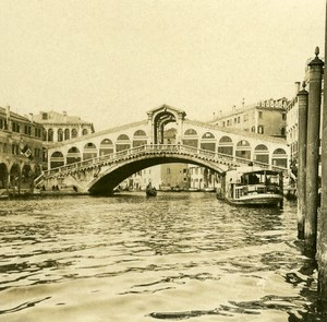 Italy Venice Grand Canal Ponte Rialto old Possemiers Stereo Photo 1908