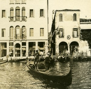 Italy Venice Traghetto of Palace Papadopoli old Possemiers Stereo Photo 1908