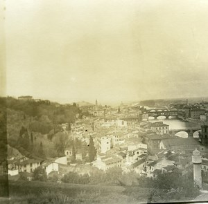 Italy Firenze Panorama from Viale dei Colli old Possemiers Stereo Photo 1908