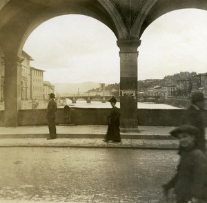 Italy Firenze on the Ponte Vecchio Arno View old Possemiers Stereo Photo 1908