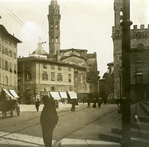Italy Firenze Piazza S Firenze Badia Tower old Possemiers Stereo Photo 1908