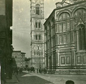 Italy Firenze the Choir of Duomo & Campanile old Possemiers Stereo Photo 1908