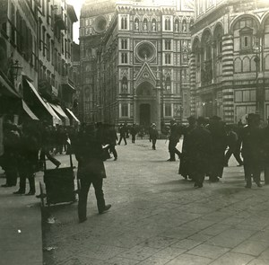 Italy Firenze Piazza del Duomo old Possemiers Stereo Photo 1908