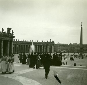 Italy Roma Vatican St Peter Square Tourists old Possemiers Stereo Photo 1908
