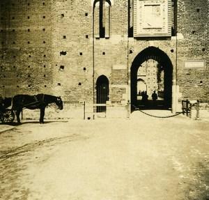 Italy Milano Castle Sforza Facade old Possemiers Stereo Photo 1908