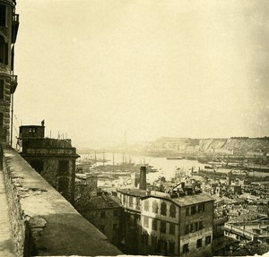 Italy Genoa Panorama old Possemiers Stereo Photo 1908