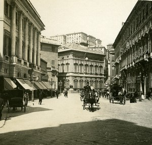 Italy Genoa Place of Marose Fountain old Possemiers Stereo Photo 1908