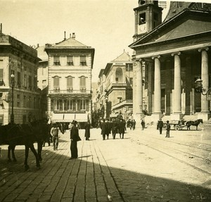 Italy Genoa Place of the Annunciation old Possemiers Stereo Photo 1908