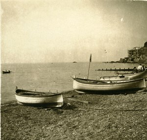 Italy Genoa the Beach old Possemiers Stereo Photo 1908