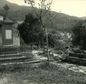 France Corse Capo di Lino Panorama ancienne photo stereo Amateur 1920
