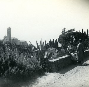 France Corse Capo di Lino Eglise & Tombeaux ancienne photo stereo Amateur 1920