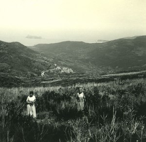 France Corse Col de la Serra ancienne photo stereo Amateur 1920