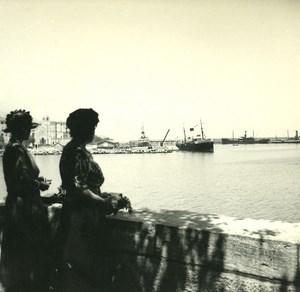 France Corse Bastia Nouveau Port Depart du Liamone ancienne photo stereo Amateur 1920