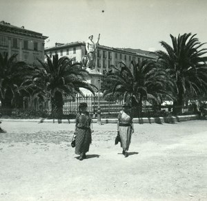 France Corse Bastia Place Saint Nicolas ancienne photo stereo Amateur 1920