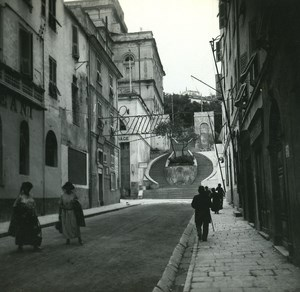 France Corse Bastia escalier de l Opera ancienne photo stereo Amateur 1920