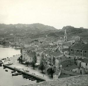 France Corse Calvi la Basse Ville ancienne photo stereo Amateur 1920