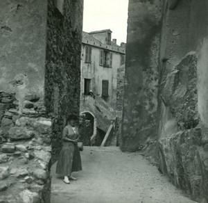 France Corse Calvi Maison natale de Christophe Colomb ancienne photo stereo Amateur 1920