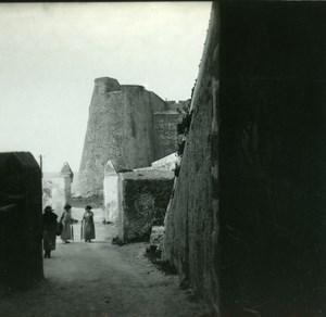 France Corse Calvi Entree de la Haute Ville ancienne photo stereo Amateur 1920