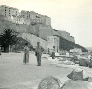 France Corse Calvi Haute Ville ancienne photo stereo Amateur 1920