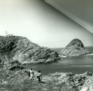 France Corse Ile Rousse Rocher du Phare ancienne photo stereo Amateur 1920