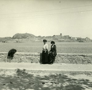 France Corse Ile Rousse pres de la Gare ancienne photo stereo Amateur 1920