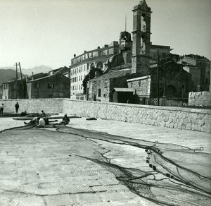 France Corse Ile Rousse Ravaudage des Filets ancienne photo stereo Amateur 1920